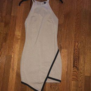 Asymmetrical Shimmer Beige Dress